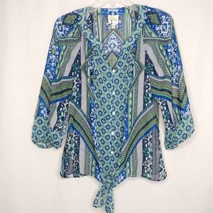 Fig and Flower Anthro Medium Green Blue Knot Top